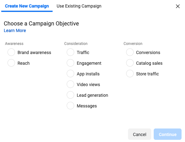Facebook Campaign Objective Example