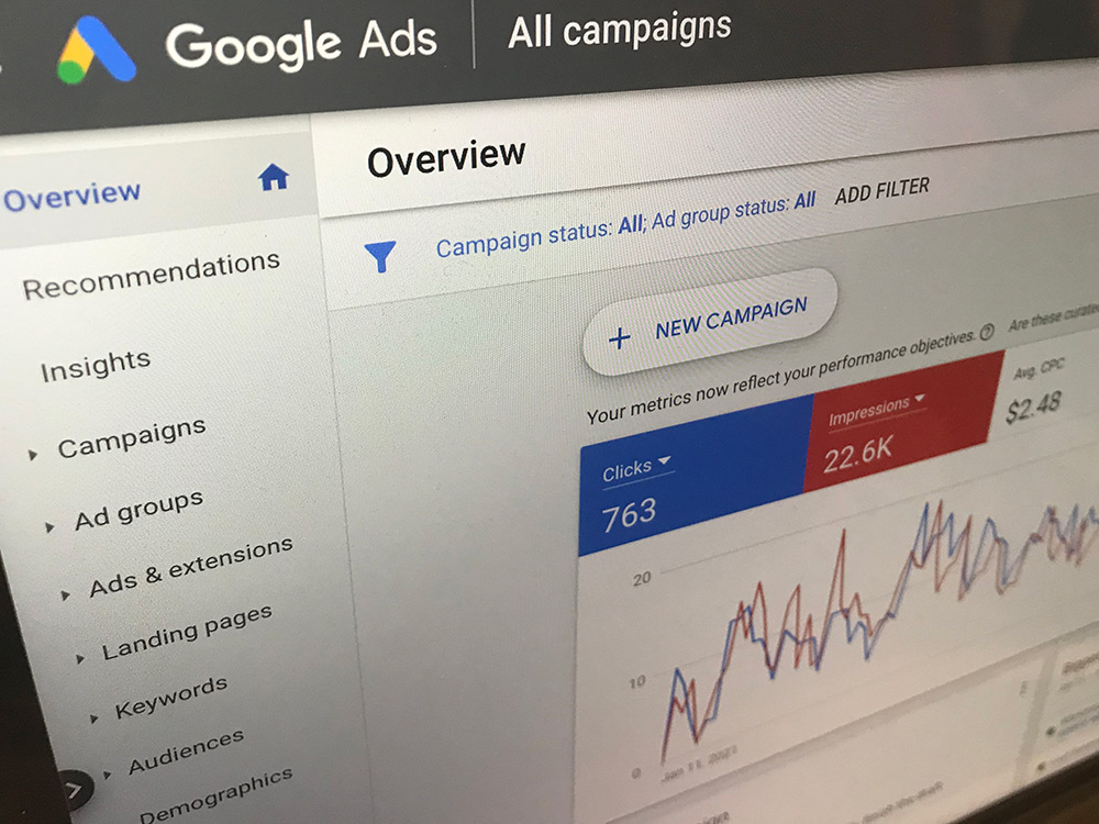 A laptop showing a PPC marketing dashboard in Google Ads